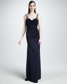 Badgley Mischka Beaded Strap Gown #BadgleyMischka #Formal
