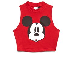 Forever 21 Women's  Hey Mickey Crop Top ($8.99) ❤ liked on Polyvore featuring tops, shirts, crop tops, blusas, red sleeveless shirt, sleeveless crop top, forever 21 tops, sleeveless tops and high neck crop top