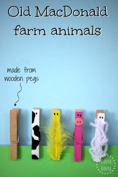 Old MacDonald farm animals made from wooden pegs- simple to make, with some other resources as well.