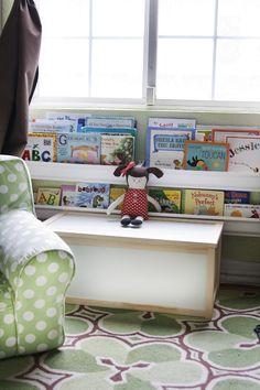gutter bookshelf I love this idea for my cookbooks!