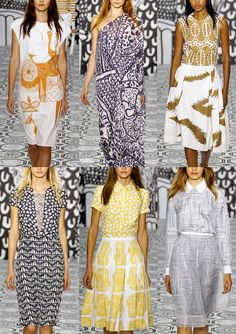 Jasper Conran S/S 2014  Primitive Drawing Style – Linocut and Block Printed – Linear Pattern Plays – Bold Lines – Monochromatic Colour – Contrast Pattern Mix-ups  London Fashion Week   Spring/Summer 2014   Print Highlights   Part 1 catwalks