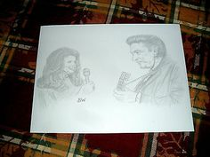 JOHNNY CASH/JUNE CARTER CASH/ PENCIL DRAWING SIGNED BY ARTIST