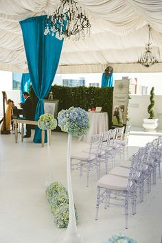 Hydrangea sphere decor for a rooftop ceremony.  (Design by Lee Forrest Design, photo by Concept Photography)