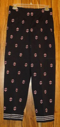 Woman's Talbots Navy Blue w/Embroidered Anchors Cropped Pants Capri Size 8