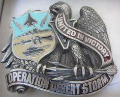 Belt Buckle Vintage 1991 #OperationDesertStorm United Victory NIB Enamel Pewter