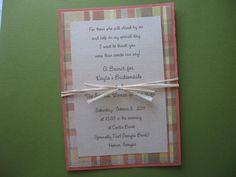 Three layer invitation tied with raffia. (I'm liking raffia these days)