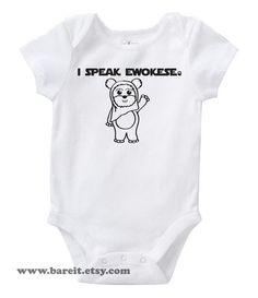 Je parle Ewokese inspiré par Star Wars mignon Geek/Nerd Funny humour Baby Onesie/Creeper taille 3, 6, 12, 18, 24 mois couleur blanc