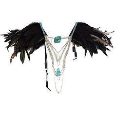 Black feather draped chain cape £60.00