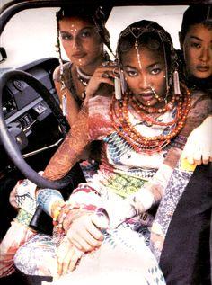 "80s-90s-supermodels:  ""Jean Paul Gaultier"", Interview US, early 90sPhotographer: Ellen von UnwerthModels: Naomi Campbell, Laetitia Casta & Jenny Shimizu"