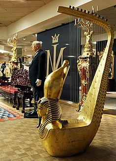 Egyptian Revival harp with Tutankhamun mask. Michael Jackson estate, Neverland.
