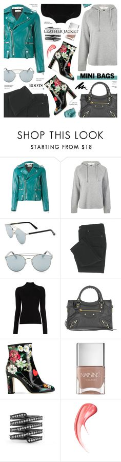 """Leather Jacket & Hoodie - Street Style"" by anyasdesigns ❤ liked on Polyvore featuring Golden Goose, Topshop, Gentle Monster, Misha Nonoo, Balenciaga, Dolce&Gabbana, Nails Inc. and Lynn Ban"