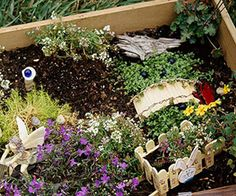 This container, made at a mother-daughter fairy garden class, holds tiny handmade accessories such as a bridge and wheelbarrow made from craft sticks. Plants include sweet alyssum, tufts of Scotch moss and a blue-flowered lobelia.  Fairy gardens should have a hint of whimsy. Use seashells as birdbaths; place a pretty marble on a golf tee to represent a gazing ball. Buttons or bottle caps make fanciful stepping-stones.