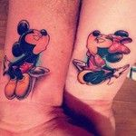 Couples minnie and mickey tattoo was done by Tattoos by Big Greg at Algood Ink in Dixon, CA Mickey Tattoo, Disney Tattoos, Disney Couple Tattoos, Cute Couple Tattoos, Mouse Tattoos, Tattoos For Guys, Cool Tattoos, Disney Couples, Tatoos