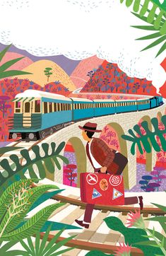 #paulboston #meiklejohn #illustration #digital #stylised #character #travel #transport #adventure #train #railway #suitcase