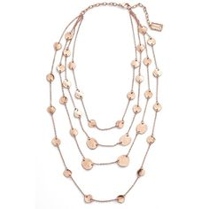 Women's Karine Sultan Manon Layered Necklace (€92) ❤ liked on Polyvore featuring jewelry, necklaces, rose gold, layered jewelry, pink gold jewelry, red gold jewelry, bib statement necklace and multi layer necklace