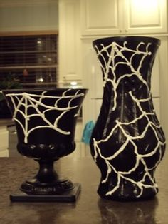 Upcycled Spider Web Vase - Rummage Sale Vase to Halloween Decor - Balancing Home