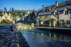 Poirot's  bridge at a winter morning in Castle Combe