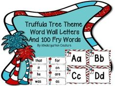 Here are some Truffula Tree Theme Word Wall Letters and the first 100 Fry Words are also included!!  See thumbnails for what they look like.   Open House Power Point (Truffula Tree Theme