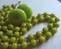 Bakelite Vintage Pea Soup Green Double Strand by MoonlightMartini