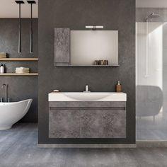 Wall mounted bathroom furniture SENSO 105 GRANITE | Κρεμαστό έπιπλο μπάνιου με 2 ντουλάπια SENSO 105 cm
