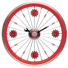 Maples Bike Wall Clock - With Red Aluminum Rim - Time & Weather