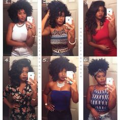 Versatility of natural hair . Which is your favorite look?? 1. Wash and go 2. Wand curls 3. Straightened hair with clipins  4. Natural straightened hair NO clipins 5. Twistout with perm rods on ends 6. Wash and go updo