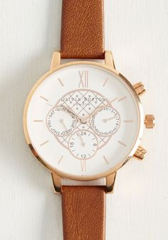 Key to Punctuality Watch in Caramel & Rose Gold by Olivia Burton - Tan, Work, Casual, Best, Solid, Menswear Inspired, Variation