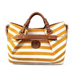 Creative Striped Logo Large Yellow Totes Makes Your World Full Of Joy And Happiness! A little over so much Michael Kors but this is cute. Cheap Michael Kors, Michael Kors Outlet, Michael Kors Bag, Coach Purses, Coach Bags, Coach Handbags, Handbags 2014, Coach Shoes, Handbags Online