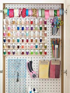 Lovely way to keep sewing rooms organised