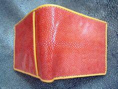 Stingray  Bifold wallet  orange polish sanded by Ossora on Etsy