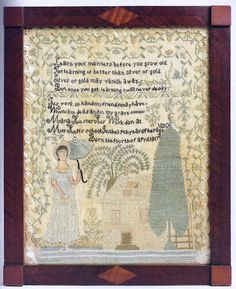 A Fine and Rare Needlework Sampler, Maria Hiester, Miss Hoff's School, Lebanon, Pennsylvania, Dated 1820, worked with green, pink, yellow & black silk threads on a linen ground, the 'towering' figure of a young girl with painted hands, arms & face, her dress with gilt-paper hem, holding a stitched green silk parasol, at right a yellow house, with gold paper foil dormer windows, & a large peaked fir tree; the whole within a strawberry vine & ruched now pink silk ribbon border.