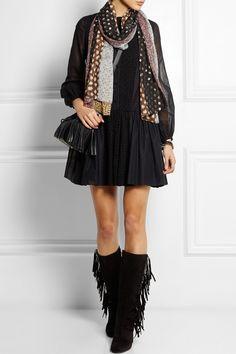 Saint Laurent Patchwork silk and chiffon scarf  NET-A-PORTER.COM