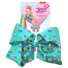 JoJo Siwa 20cm Signature Patterned Bow And Necklace Set -Green Sweets