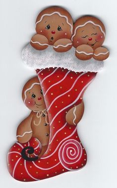 This gingerbread man wood magnet is handcrafted and highly detailed. It is a nostalgic type of design with 2 gingers in an envelope, with rolling pins and spoons behind them. Gingerbread Ornaments, Gingerbread Decorations, Christmas Gingerbread, Christmas Decorations, Christmas Paintings, Christmas Art, All Things Christmas, Christmas Stockings, Christmas Ornaments