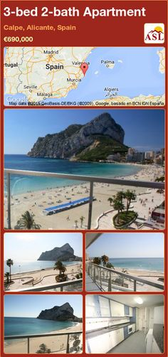 Apartment for Sale in Calpe, Alicante, Spain with 3 bedrooms, 2 bathrooms - A Spanish Life Calpe Alicante, Alicante Spain, Apartments For Sale, Diving Equipment, Windsurfing, Big Waves, Seville, Malaga, Sevilla