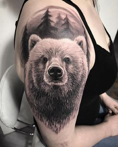 31 Trendy Bear Tattoo Designs and Ideas for Men and Women in 2020 - Home of Best Tattoos Grey Ink Tattoos, Body Art Tattoos, Small Tattoos, Cool Tattoos, Animal Tattoos For Men, Tattoos For Guys, Tattoo Sleeve Designs, Sleeve Tattoos, Wolf Tattoo Forearm
