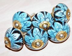 Hand Painted Cream Ceramic Knob Blue Flowers Cabinet Cupboard Handle Wardrobe Profit Small Home & Garden