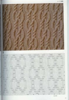Cable chart pattern араны, вязание – Awesome Knitting Ideas and Newest Knitting Models Cable Knitting Patterns, Knitting Stiches, Knitting Charts, Lace Knitting, Knit Patterns, Crochet Stitches, Stitch Patterns, Crochet Chart, Stitch Design