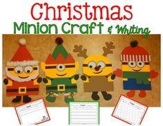 Your students will love these adorable Christmas Minions! These printable templates include materials for creating 5 types of Minions:*Classic Minion with Overalls (hair bow and bow tie included for accessories)*Santa Minion (2 types of beards- Mustache or No Mustache)*Elf (2 types of hats- stripes or plain, add bow for accessory!) *Reindeer *Winter (2 types of hats- stripes or plain, 2 types of scarfs- polka dots or plain) Perfect for bulletin boards & doors, writing craftivities, or Ch...