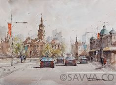 Sydney's town hall on a warm day in watercolour Town Hall, Watercolour Painting, Street View, Artist, Sydney, Paintings, Google, Paint, Artists