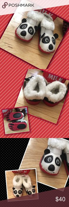 Panda Feet Nothing cuter than 🐼 pandas on your little ones toes! Girl or boy they are off the chart adorbs. Lined with soft faux furry goodness! Quirky cute character with paw flex soles to aid in agility just like the animals! Leather and man made upper. Shoes