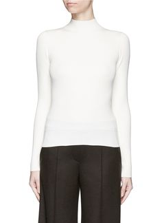 'Emid K' funnel neck rib knit top