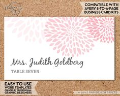 Place Card Template - Mums - BLUSH -  DIY Editable Word Template Instant Download Printable AVERY compatible