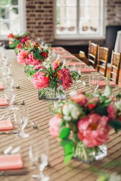 CHARLESTON WEDDINGS - Pink Peony wedding centerpieces by Pretty Petals of Charleston at The Historic Rice Mill Building