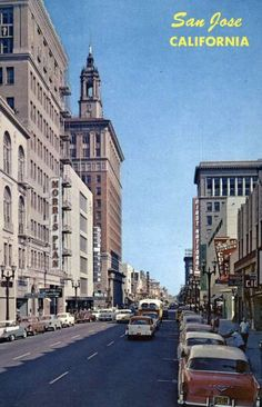 Downtown San Jose CA, 1950s, via Flickr.                                                                                                            Downtown San Jose CA, 1950s             by        Mindcage      on        Flickr