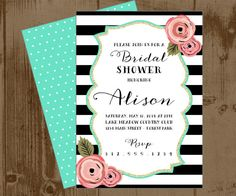 Black and White Stripe Pink and Mint Bridal Wedding Shower invitation or Save the date card PRINTABLE