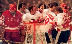 Bobby Clarke and his Canada teammates celebrate during the 1972 Summit Series against the Russians.