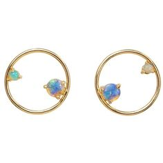 WWAKE Opal Circle Earrings (€580) ❤ liked on Polyvore featuring jewelry, earrings, opal stud earrings, circle stud earrings, circle earrings, stud earrings and circle jewelry