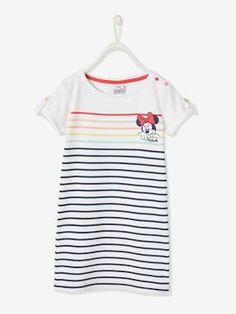 Robe T Shirt ample Blanche avec tête de Minnie et poches