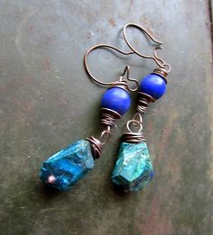 Blue is the Sky - Boho Rustic Earrings of Chrysocolla and Blue Stone in Teal, Green, Aqua, Blue, with Oxidized Copper Messy Wrap by Chilirose on Etsy